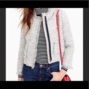 J. Crew Lady Tweed Cream Metallic Zipper Jacket 2